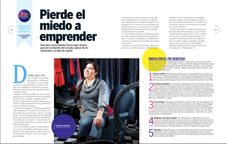 """""""Artículo publicado en la revista Entrepreneur Diciembre 2009. Autora: Ilse Maubert Roura"""""""